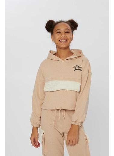 Little Star Little Star Kız Çocuk Peluş Kapaklı Sweatshirt Taş
